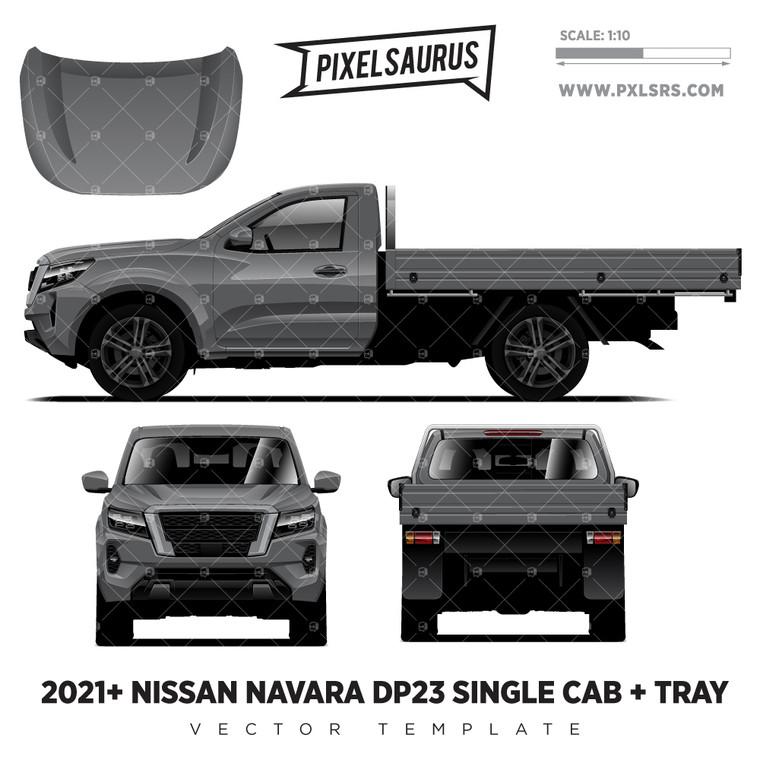 2021+ Nissan Navara NP300/D23 (Frontier) Single Cab + Tray Vector Template
