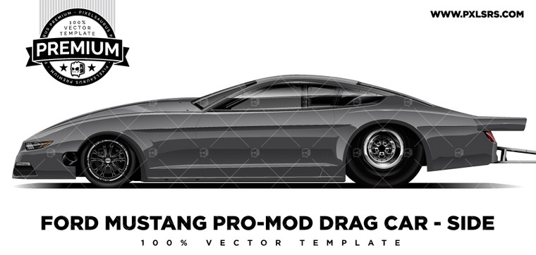 Ford Mustang Pro-Mod Drag Car 'Premium' Vector Template