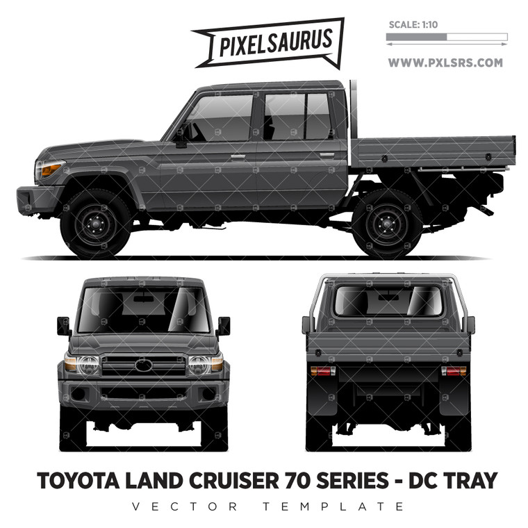 Toyota Land Cruiser 70 Series Double Cab + Tray '100% Vector' Template