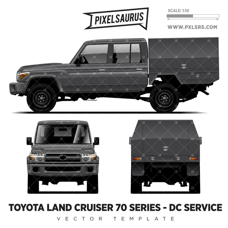 Toyota Land Cruiser 70 Series Double Cab + Service '100% Vector' Template