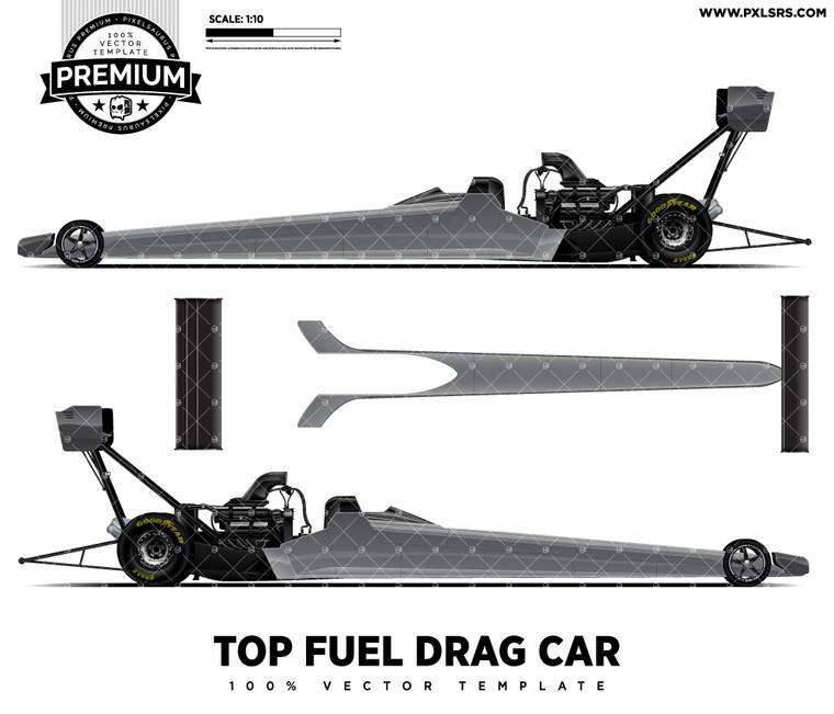 Top Fuel Drag Car 'Premium' Vector Template