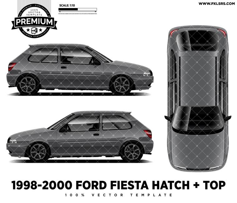 1998-2000 Ford Fiesta Zetec Hatch + Top 'Premium Side'  Vector Template