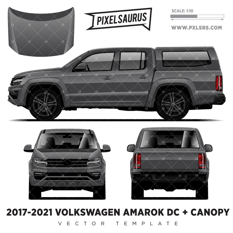 2017-2021 VW Amarok Double Cab + Canopy '100% Vector' Template