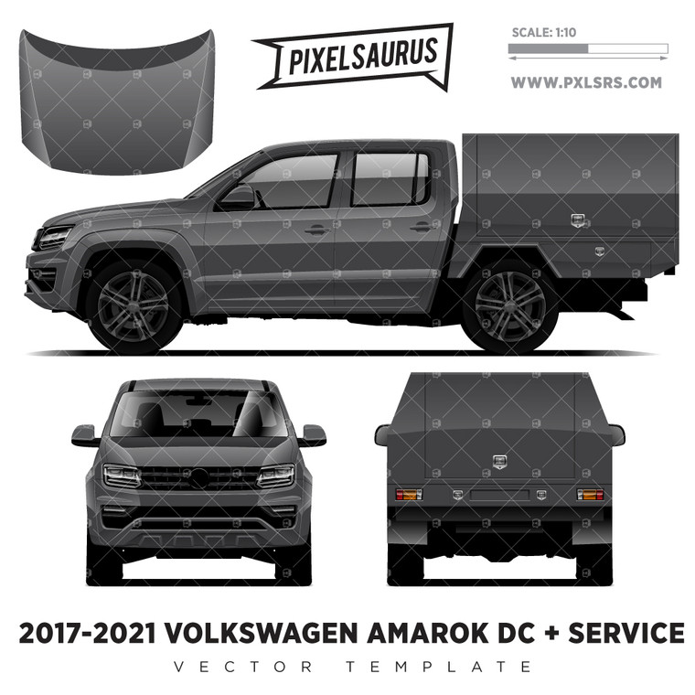 2017-2021 VW Amarok Double Cab + Service '100% Vector' Template
