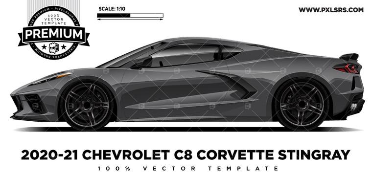 2020-21 Chevrolet C8 Corvette Stingray - Side 'Premium' Vector Template