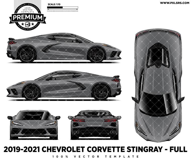 2019-2021 Chevrolet C8 Corvette Stingray - Full 'Premium' Vector Template