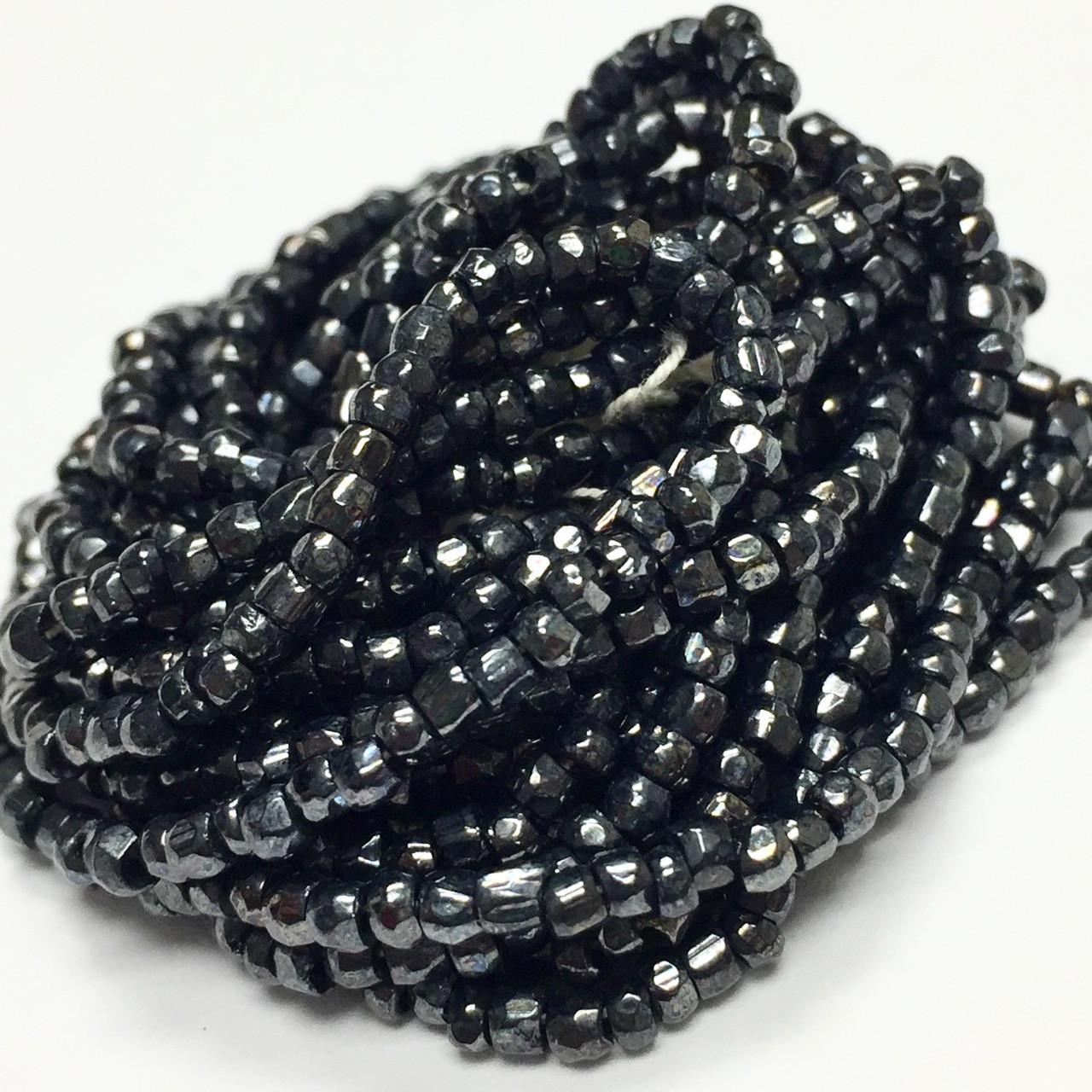 Vintage Black AB Metallic Pressed Celtic Knot Czech Glass Beads 11mm 6pcs