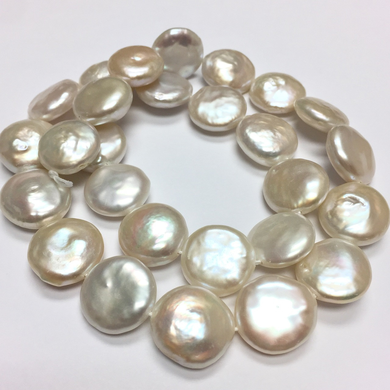 9035a8fa2bae4 Freshwater Creamy White Coin Pearl Beads-14-15mm