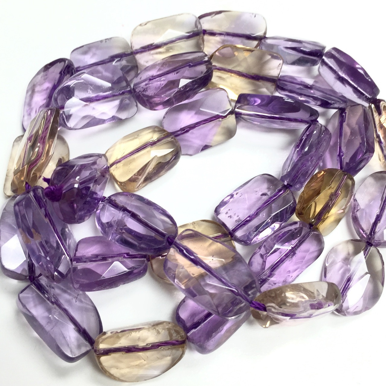 Natural Ametrine Faceted Nuggets 10-12mm Very Rare 8 Inch Strand