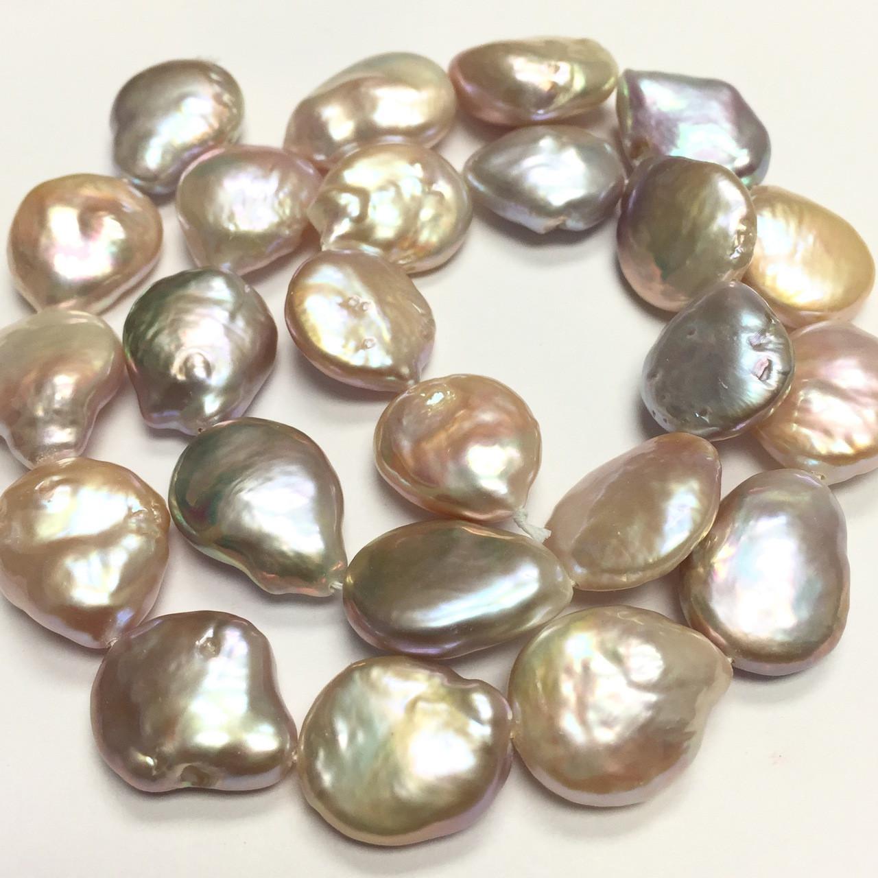 45f68794cdc61 Peachy Baroque Coin Pearls 14-15mm