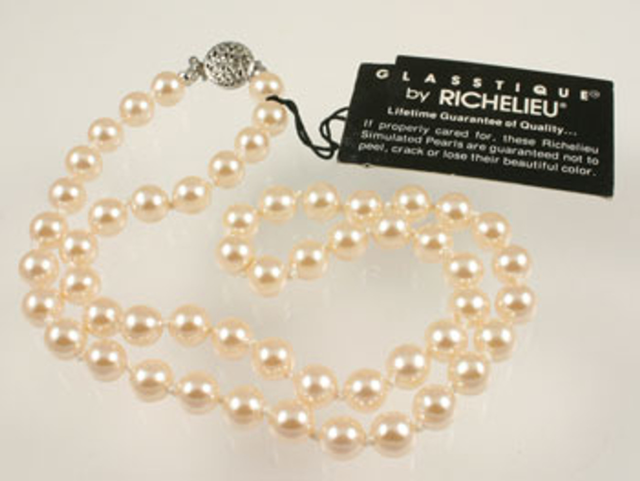 Vintage Richelieu Simulated Blushing Pink Pearl Glass Necklace A