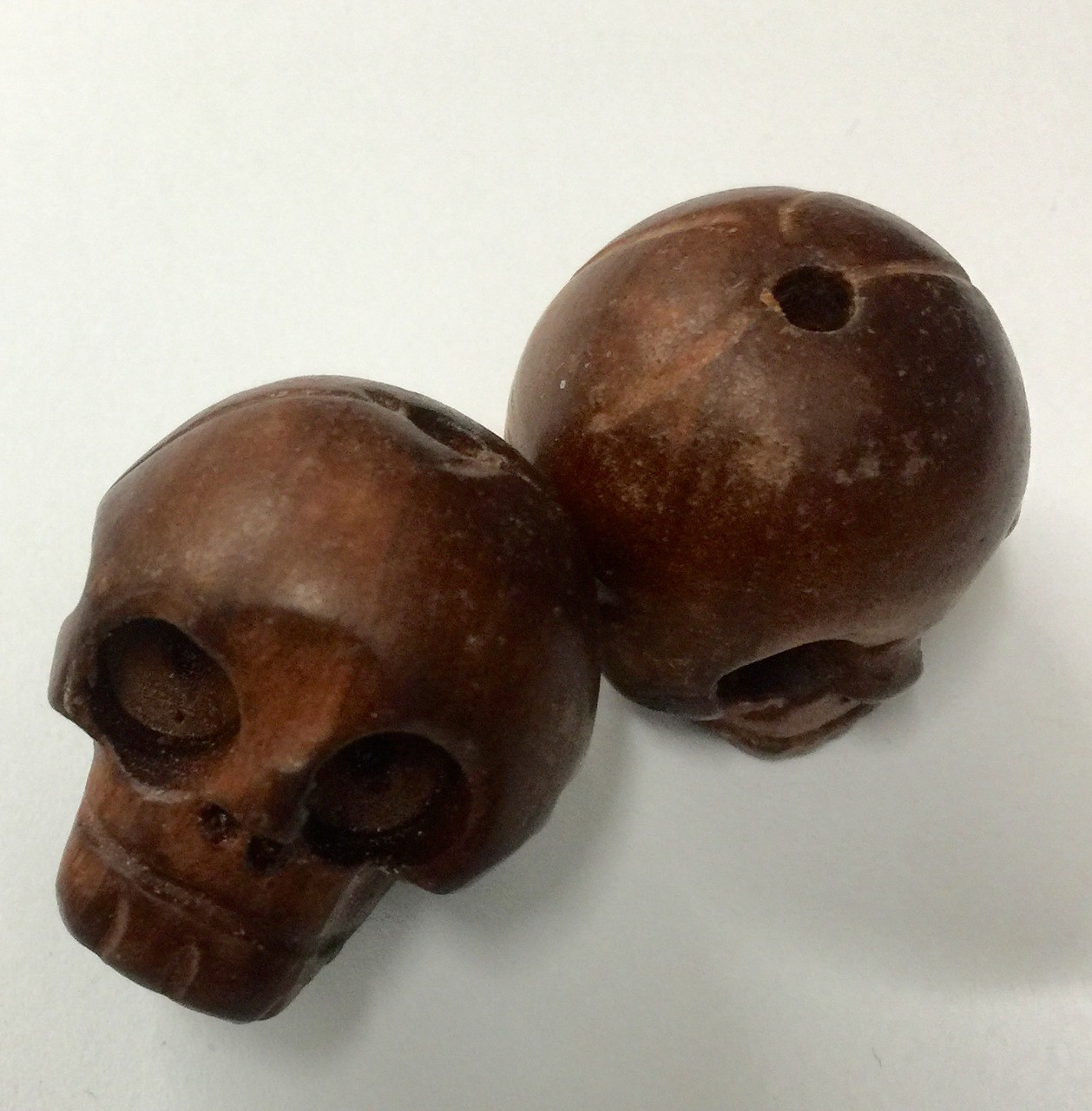 Hand carved wooden skull beads pendants biggies mm a