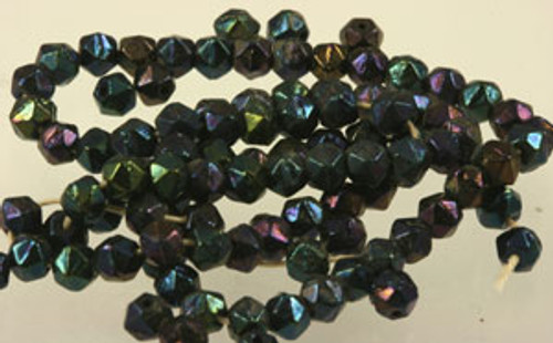 Vintage Austrian Blue Iris English Cut Glass Beads 5mm