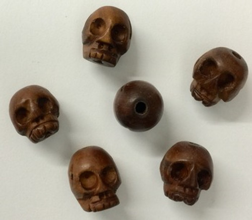 Hand carved wooden skull beads pendants mm a grain of sand