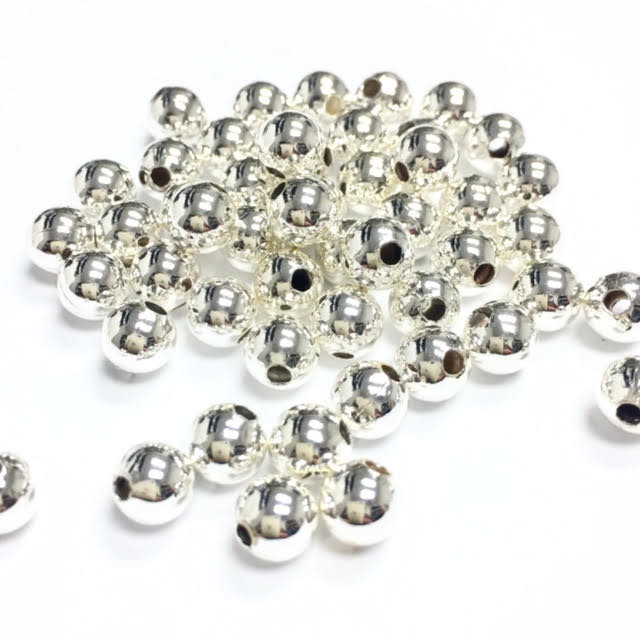 Gold Plated Silver Antique Beads: Vintage Silver Plated Round Beads