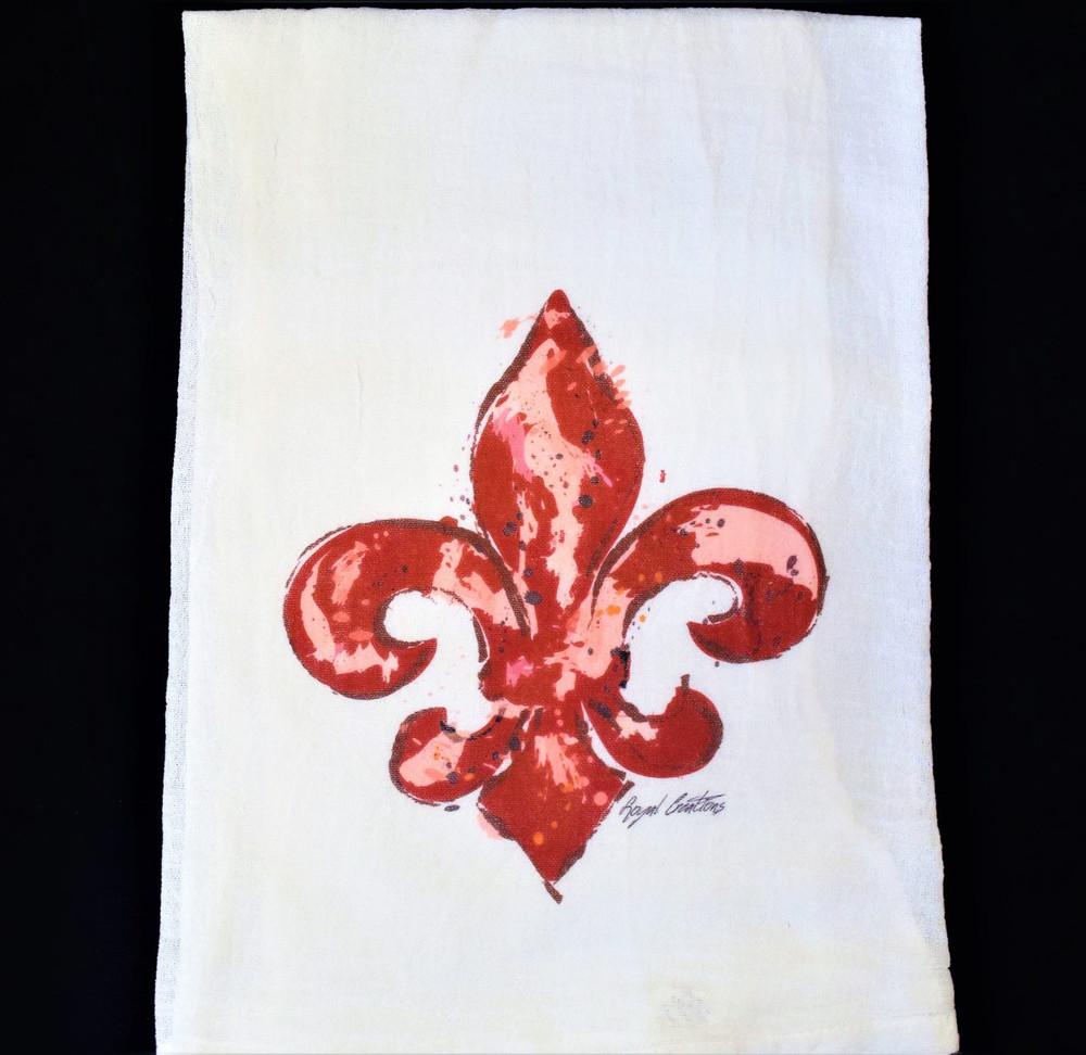 Red Fleur de Lis Flour Sack Towel