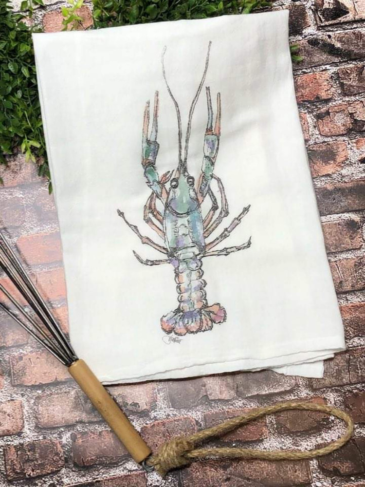 Watercolor Crawfish Flour Sack Towel