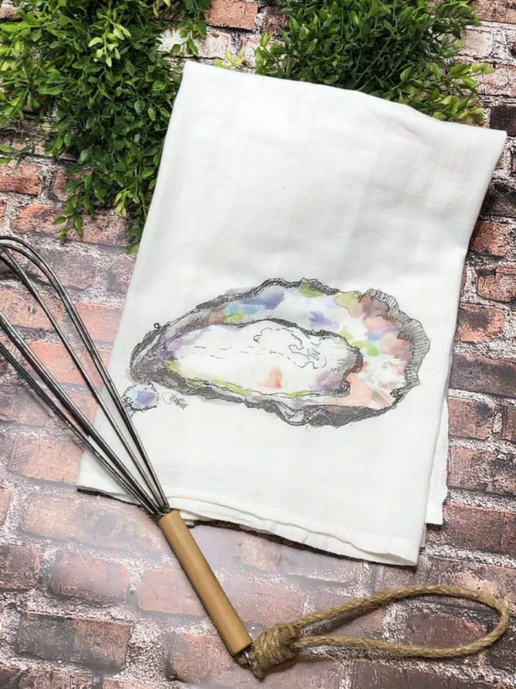 Watercolor Oyster Flour Sack Towel