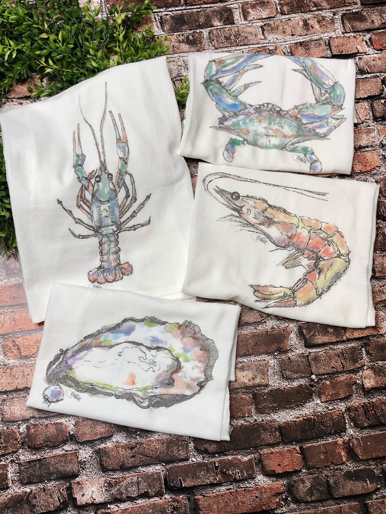 Watercolor Flour Sack Towels-Set of Four