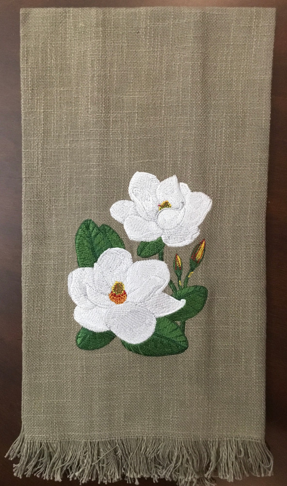 Embroidered Magnolias Towel