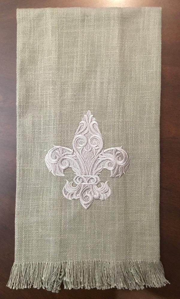 Embroidered Fleur-de-lis Towel