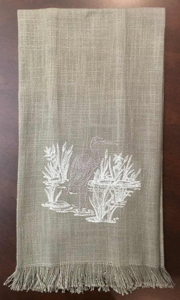 Embroidered Taupe Heron Towel