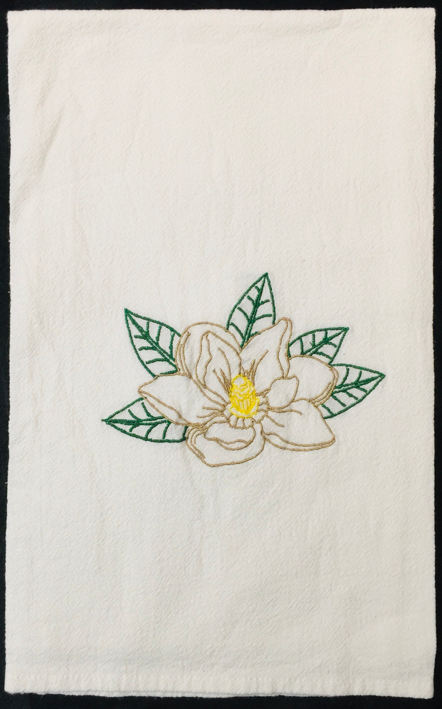 Embroidered Magnolia Flour Sack Towel