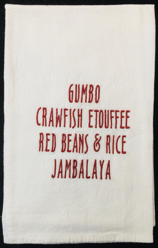 Embroidered Gumbo Flour Sack Towel