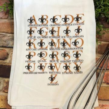 Cajun Alphabet Flour Sack Towel