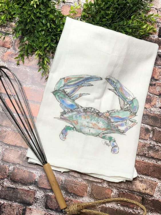 Watercolor Crab Flour Sack Towel
