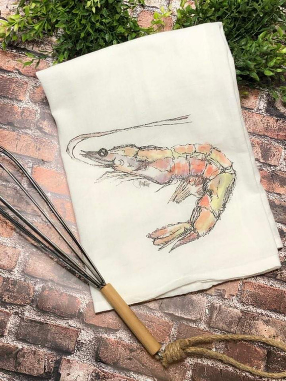 Watercolor Shrimp Flour Sack Towel