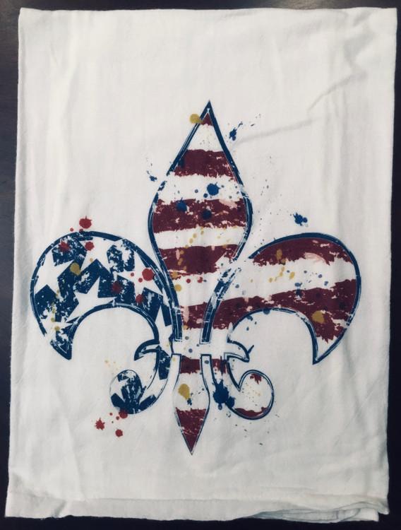 Patriotic Fleur De Lis Flour Sack Towel