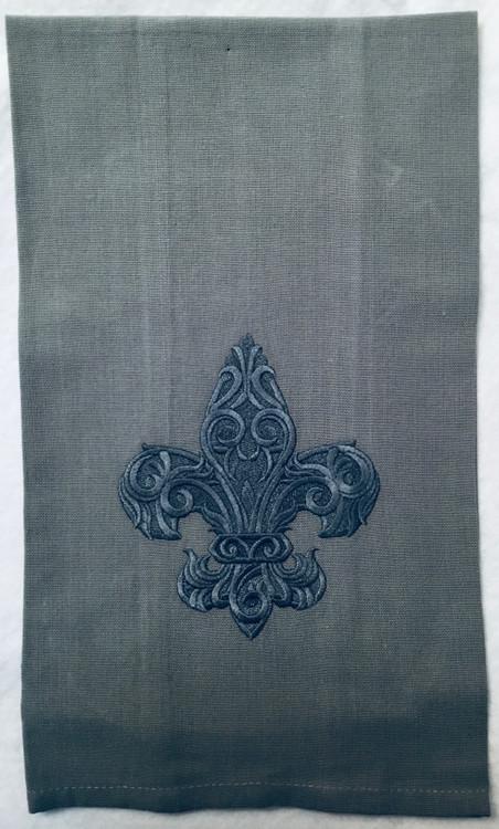 Embroidered Fleur de Lis Linen Towel