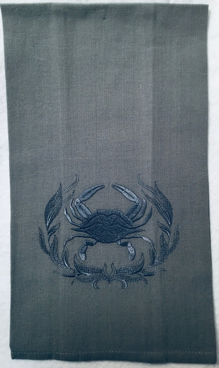 Embroidered Crab Linen Towel
