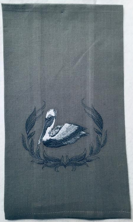 Embroidered Pelican Linen Towel
