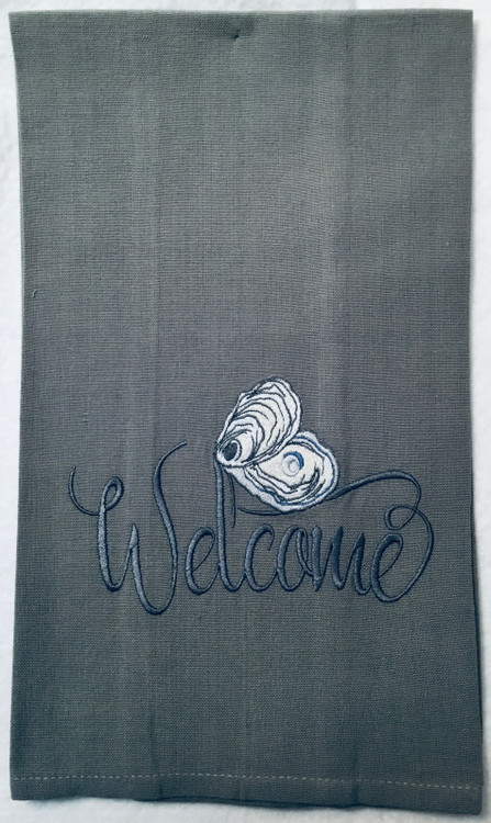 Embroidered Oyster Linen Towel