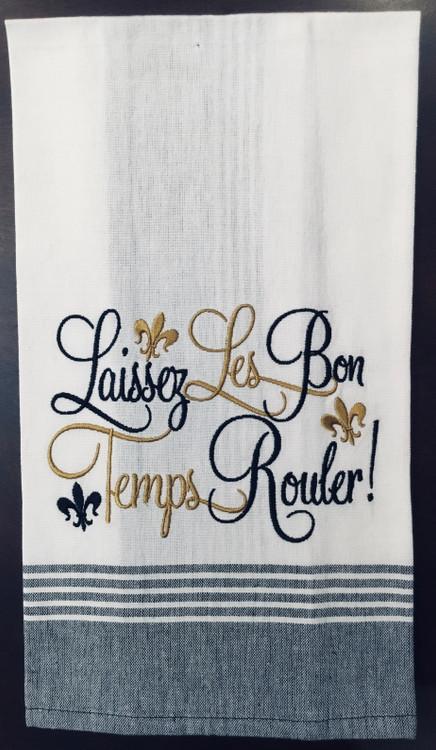 Laissez Les Bon Temps Rouler Embroidered Cotton Towel