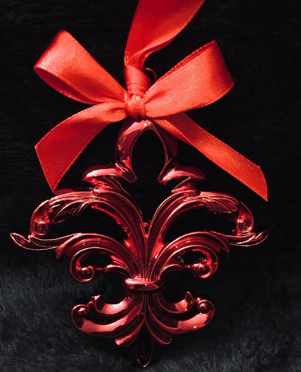 Red Fleur de Lis Ornament