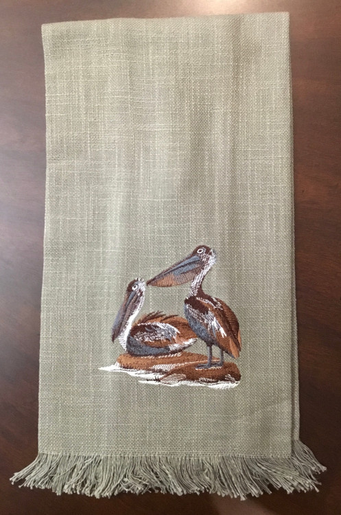 Embroidered Pelicans Towel