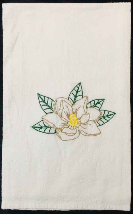Embroidered Magnolia Flour Sack Towel