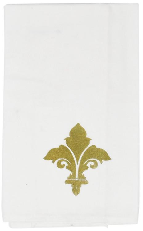 Gold Metallic Fleur de Lis Towel