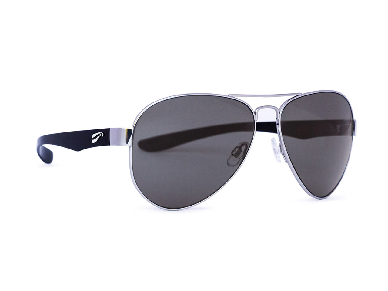 Cooper Titanium Aviator - Silver Frame with Solid Gray Lenses