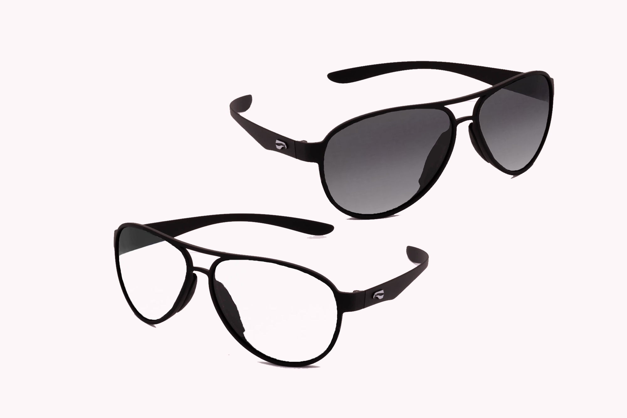 Kestrel Aviator Non-Rx Bifocal Bundle - Matte Black Frame with Gradient Gray and Clear Lenses