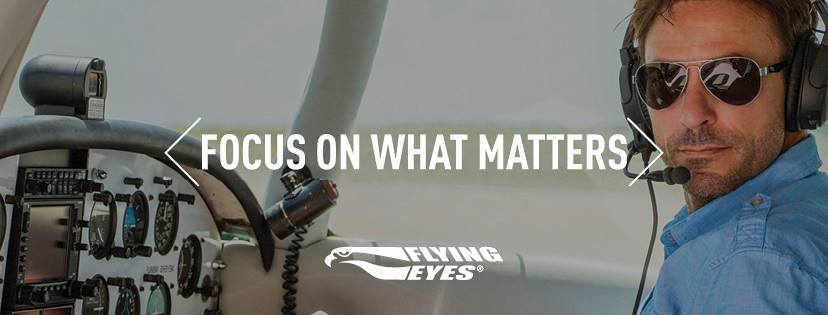 "Serious pilot sitting in a cockpit looks at the camera while wearing Kestrel Aviators under a headset. White text over the image reads ""Focus on What Matters."""