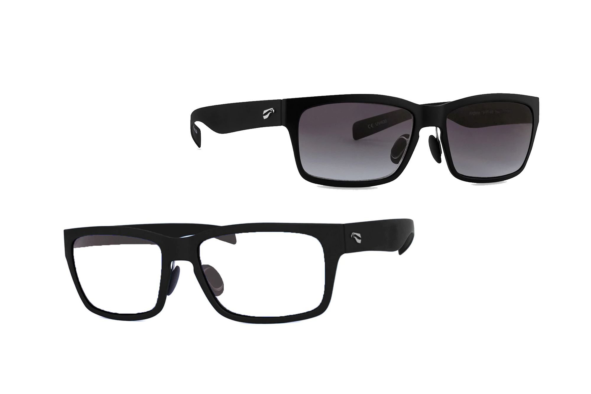 Kingfisher Non-Rx Bifocal - Matte Black Frames with Gradient Gray and Clear Lenses