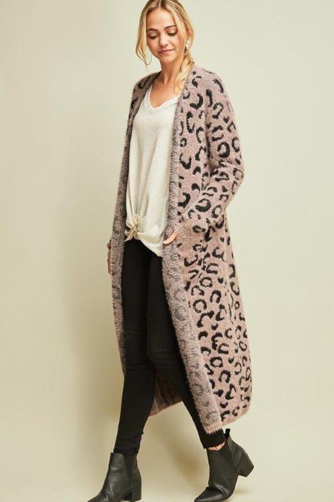 Cheetah Maxi cardigan Mocha/Black