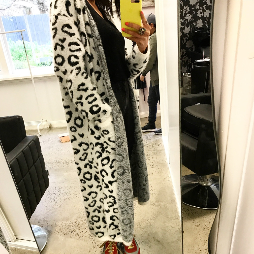 Cheetah Maxi Cardigan Snow White