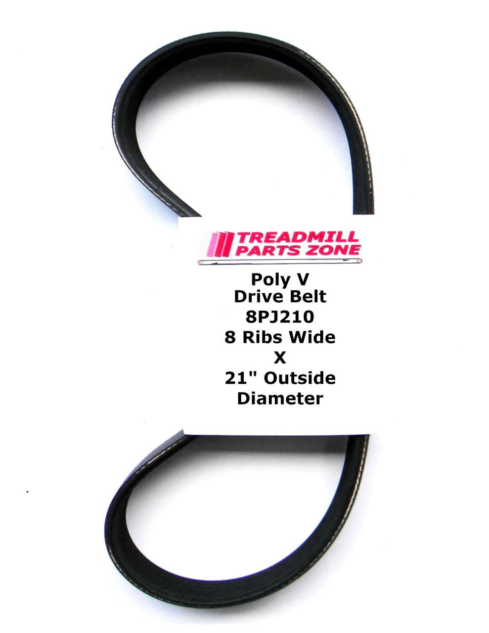 "Poly V Drive Belt 8PJ210 8 Ribs Wide X 21"" Outside Diameter"