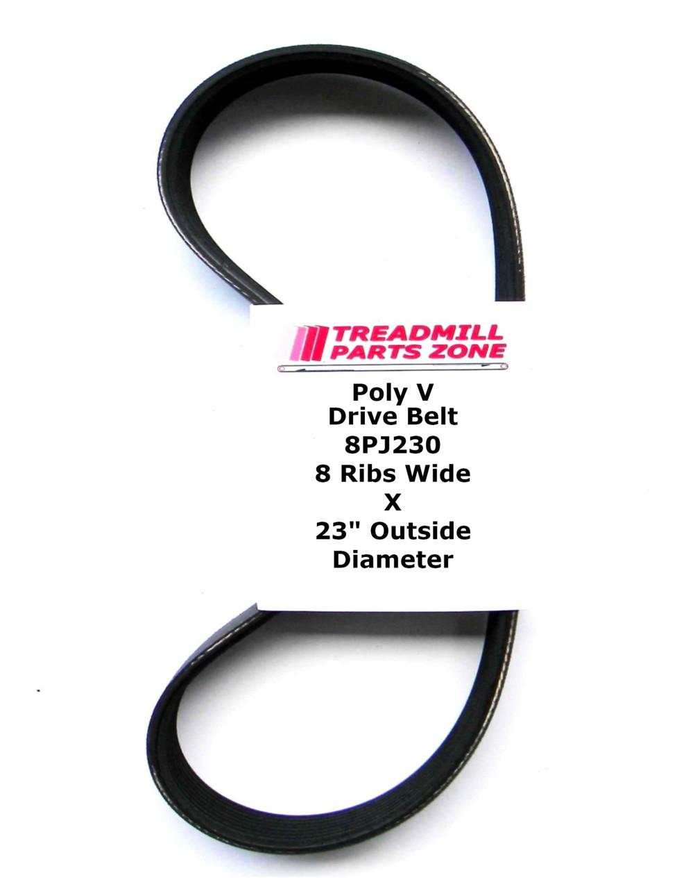 "Poly V Drive Belt 8PJ230 8 Ribs Wide X 23"" Outside Diameter"