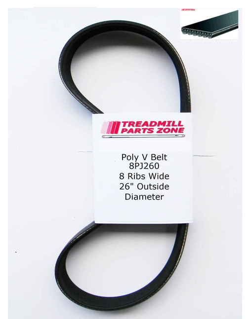 "Poly V Micro Belt 8 Ribs Wide x 260"" OD 8PJ260"